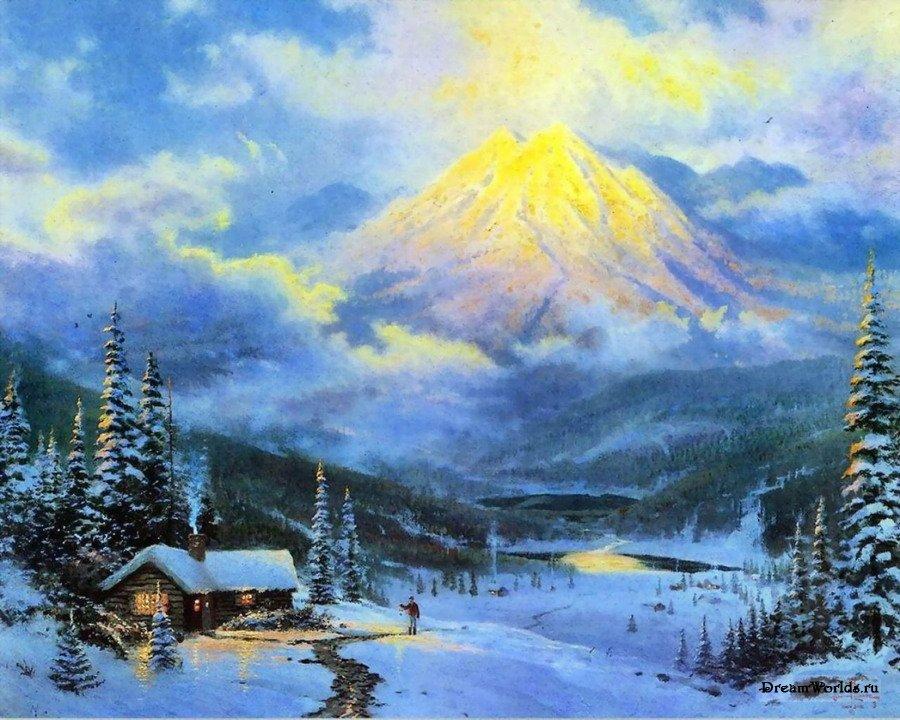 Картинки зима пейзажи рисовать 5