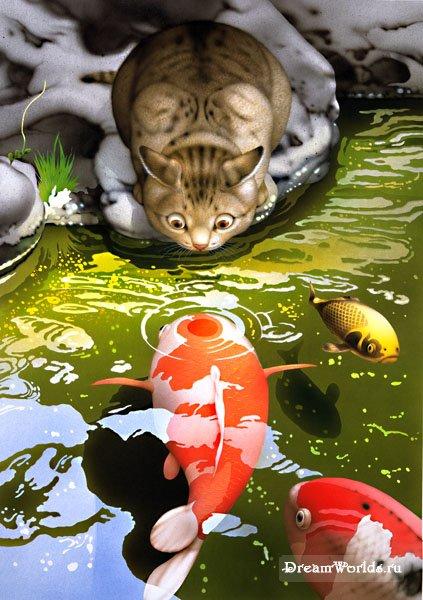 Милые котики японского художника makoto