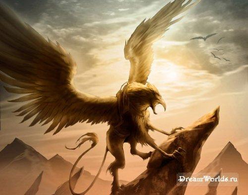 Грифон - крылатые чудовища с львиным туловищем и головой орла, стражи...