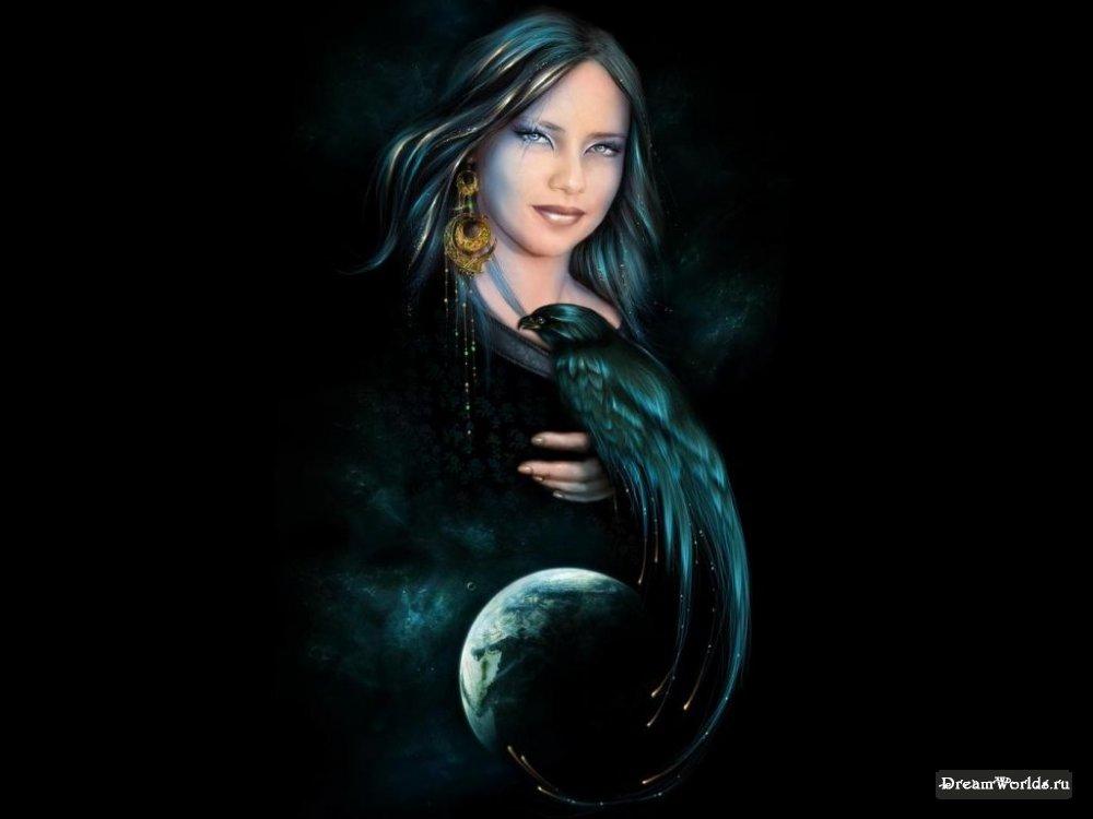 Рисунки - девушка красавица с вороном в руке.  Вампир, оборотень.