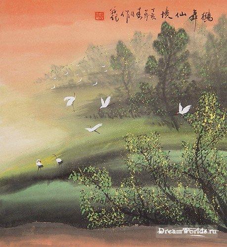 Китайская живопись(журавль)