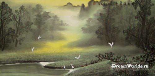 Китайская живопись (журавль)