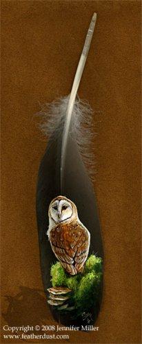 Работы на перьях от Jennifer Miller