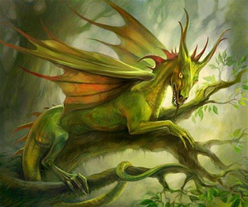 Лесной зелёный дракон Он живёт в лесных чащах,довольно скрытный,но если ты...