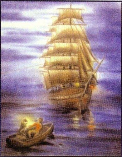 Имелись и другие варианты легенды.  Согласно одной из них, корабль был приговорен к вечному скитанию потому...