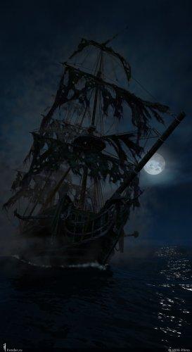 В воображении мальчика тут же предстал небывалый корабль-призрак, о рваных парусах с черными бортами.