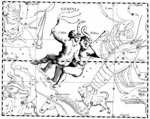 "Созвездие Близнецы из Атласа  ""Uranographia "" J. E. Bode (Берлин 1801). созвездие Близнецы."