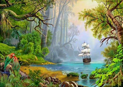 Рано утром на следующий день его разбудил звук корабля, приближающегося к берегу.  Корабль пришел, чтобы спасти его.