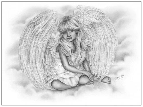 Скачать обои черно-белые, маленький ангел в небе, Zindy S. D. Nielsen 800x600.