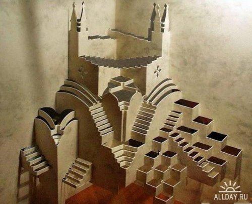 Вот еще примеры работ в этой технике.  Техника называется Origamic Architecture Концепция была разработана Masahiro...