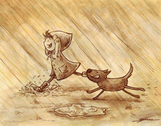 Люблю дождь,раскаты грома,грозу,как капли барабанят по подоконнику и смотреть как бегут люди без зонтов.