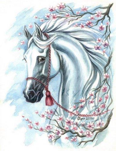 """Оригинал - Схема вышивки  """"Белая лошадь """" - Схемы автора  """"alena4 """" - Вышивка крестом."""
