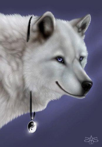 """Схема вышивки  """"Белый волк с кулоном """" ."""