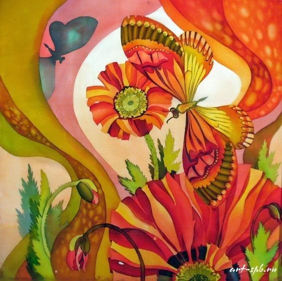 """Схема вышивки  """"Бабочки в цветах """" ."""