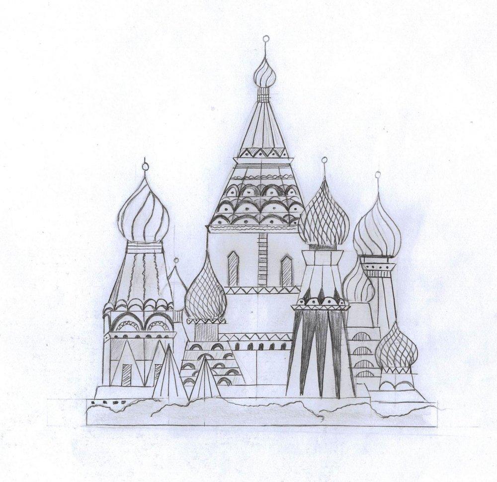 Как нарисовать собор василия блаженного карандашом поэтапно