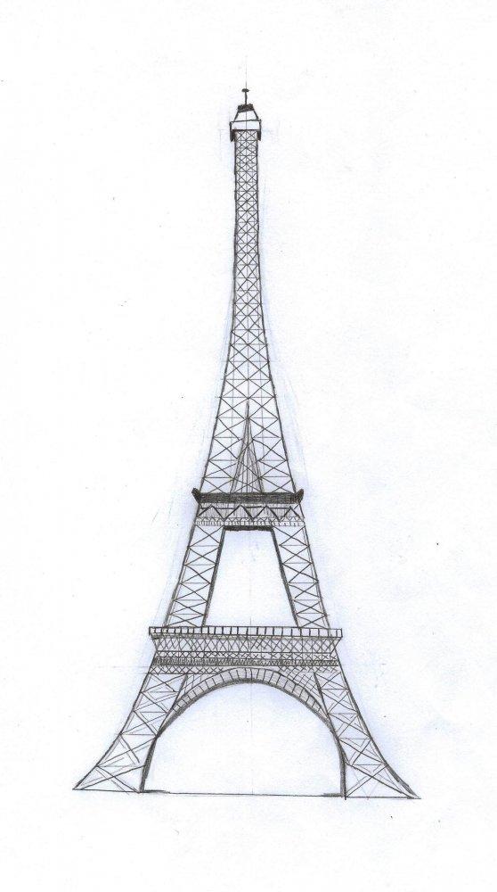Эйфелева башня рисунки карандашом поэтапно