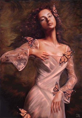 """Предпросмотр - Схема вышивки  """"Девушка и бабочки """" - Схемы автора  """"Amber """" - Вышивка крестом."""
