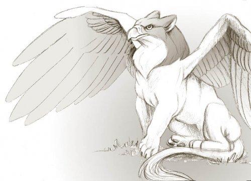 Грифон - крылатые чудовища с львиным туловищем и головой орла.