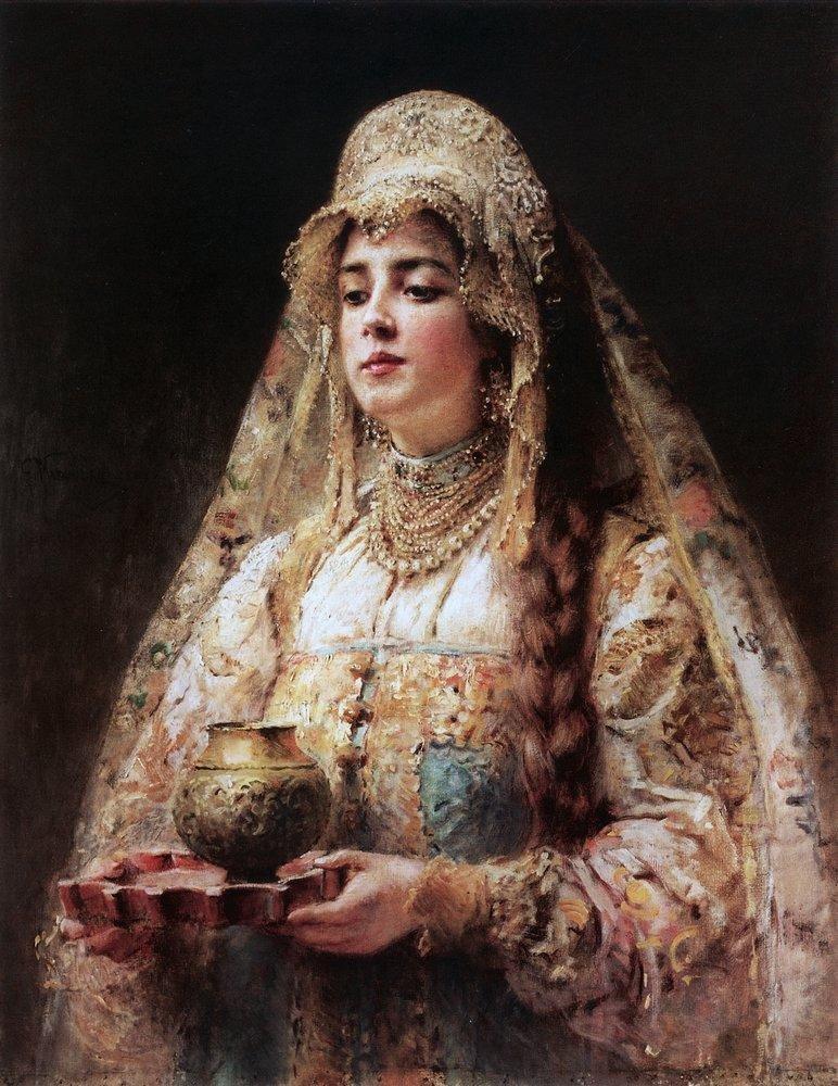 К.Маковский-один из самых востребованных и модных художников России.  Боярышни в кокошниках.