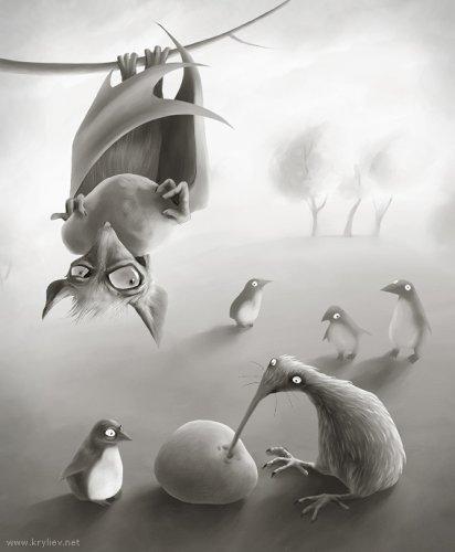 Известно, что птицы киви любят питаться упавшими фруктами.
