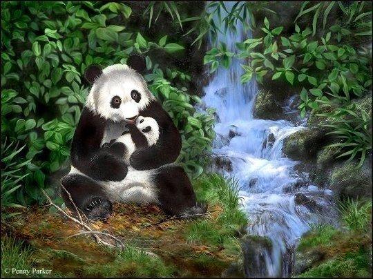 вязаная панда - Шарф, шапки, рукавички.