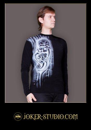 """Художественная аэрография в кибер-готическом стиле. Коллекция современной рок одежды """"Биомеханика Тату"""""""