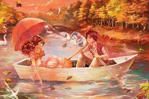 Teanika Образ женщины, живопись, девушка, юноша, лодка, картинка.
