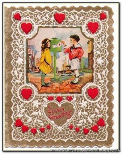 Старинная английская открытка: Валентика