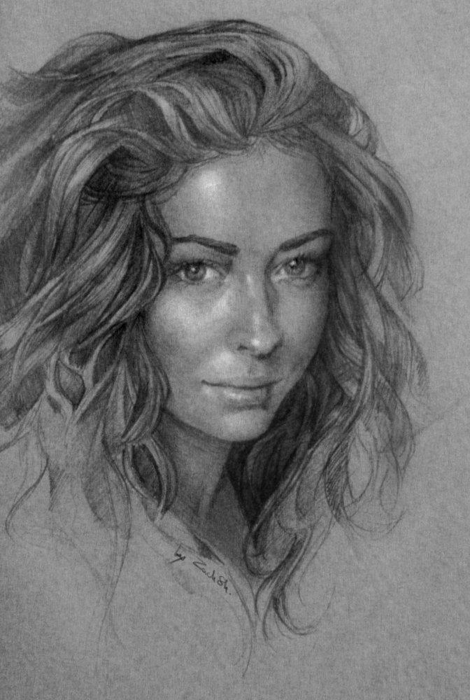 портрет карандашом в фотошопе: