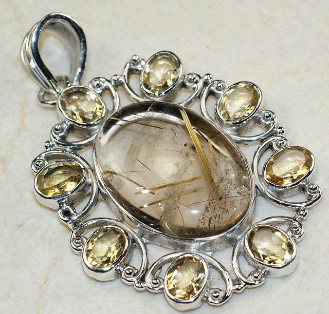 Кольцо из белого золота с кварцем волосатиком и бриллиантами, модель 1_01795 уральский ювелирный завод