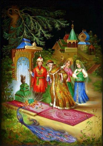Тематика народных сказок в федоскинской лаковой миниатюре