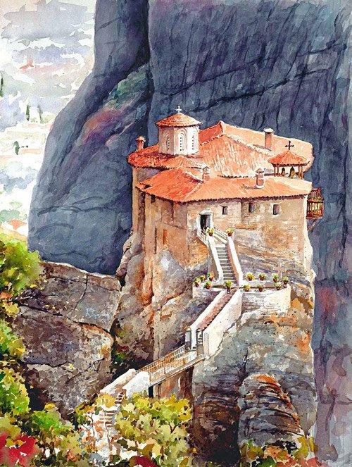 Акварельная греция картины пантелиса