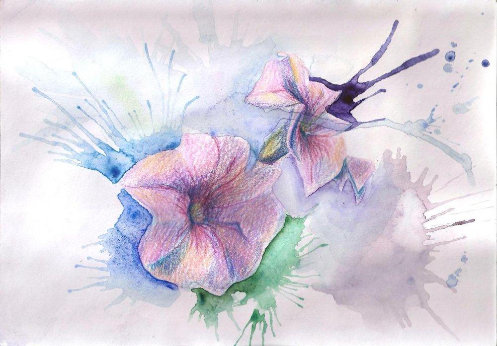 цветы картинки нарисованные красками: