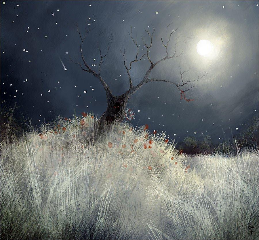 Фоне полной луны. Флориссия. Опубликовал. природа, мрачные пейзажи.