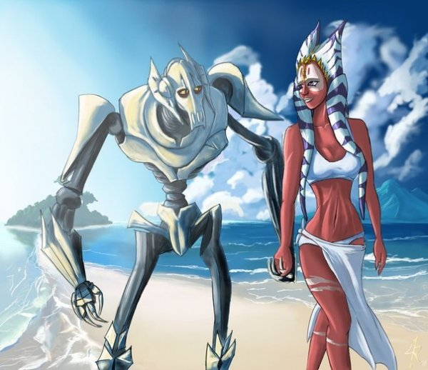 Raikoh-illust. 67 Comments. Grievous - Shaak Ti - Beach.