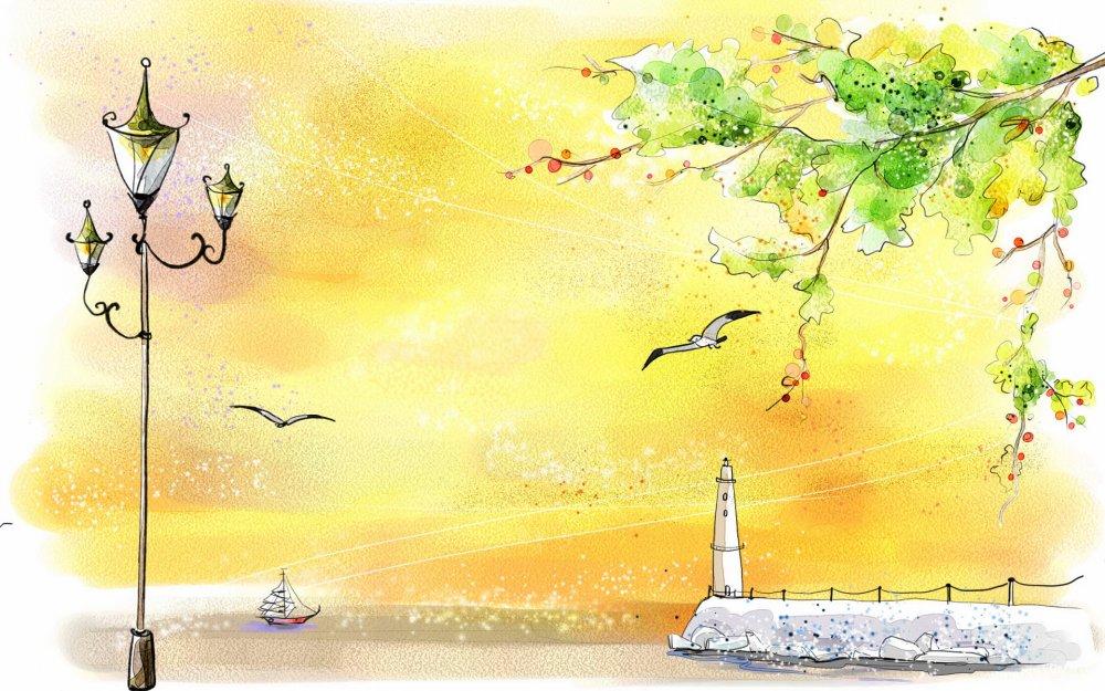 1440x900 рисунок, чайка, маяк, фонарь картинки на рабочий стол обои фото скачать