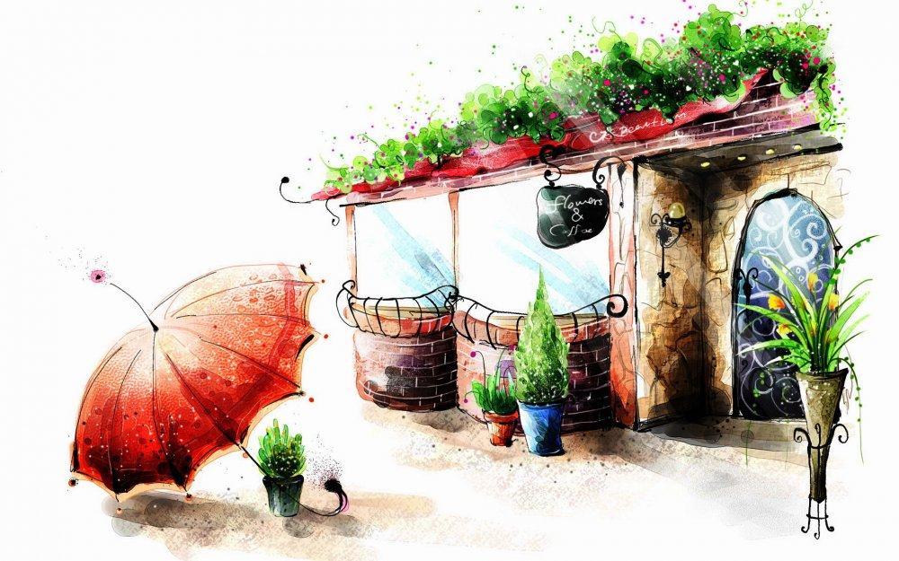 Картинка рисунок, зонт 1366x768, фото 84071